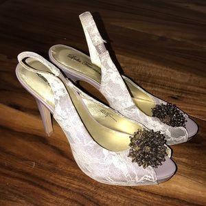 Lulu Townsend Peeptoe Lace Heels